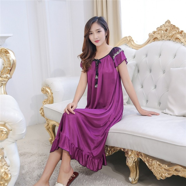 Hot Women Night Gowns Sleepwear Nightwear Long Sleeping Dress Luxury  Nightgown Women Casual Night Dress Ladies 800e887fd