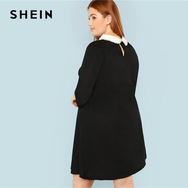 SHEIN Plus Size Black Cute Peter pan Collar Beading Pearl Embellished A-Line Loose Dresses Women Spring Autumn Knee-Length Dress 1