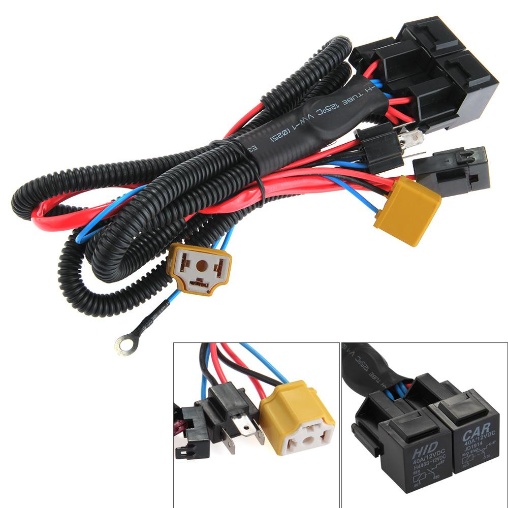 h4 9003 ceramic fused relay wiring harness headlight bulb booster [ 1000 x 1000 Pixel ]