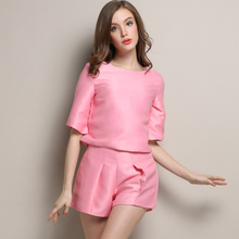 Female XL crop top and shorts set vestido 2015 elegant 2 piece set high quality women's clothing trouser suit Only Yellow OM166