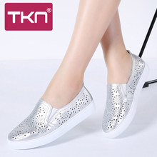 TKN 2019 Autumn Women Ballet Flats Oxfords Shoes Ladies Slip on Loafers White Cutout Comfort Chaussures Femme Flat Shoes 6689