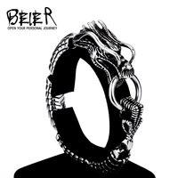 Beier nuovo negozio 316L bracciale In Acciaio inossidabile Punk prepotente drago Catena uomo Bracciali Braccialetti Dei Monili di Modo LLBC8-001R