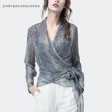 Luxe Snake Skin Print Blouse Vrouwen Gekruiste V hals Lange Mouw Tops Sexy Slim Plus Size 4XL Mode Vrouwelijke Lente zomer Shirt
