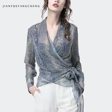 럭셔리 스네이크 스킨 프린트 블라우스 여성 V 넥 긴 소매 탑스 섹시 슬림 플러스 사이즈 4XL 패션 여성 봄 여름 셔츠
