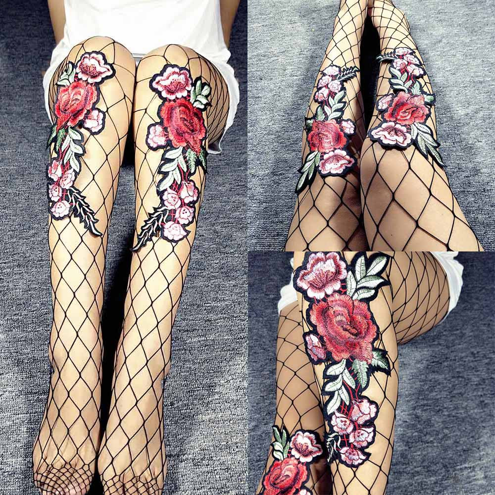 CHAMSGEND Preferential 2018 Black Ladies Embroidered Cross Fishings Nets With Panties And Tights Dropship