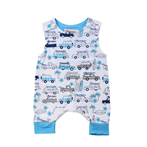 Newborn Toddler Baby Summer Kids Boy Cartoon Car Infant Romper Jumpsuit Outfit
