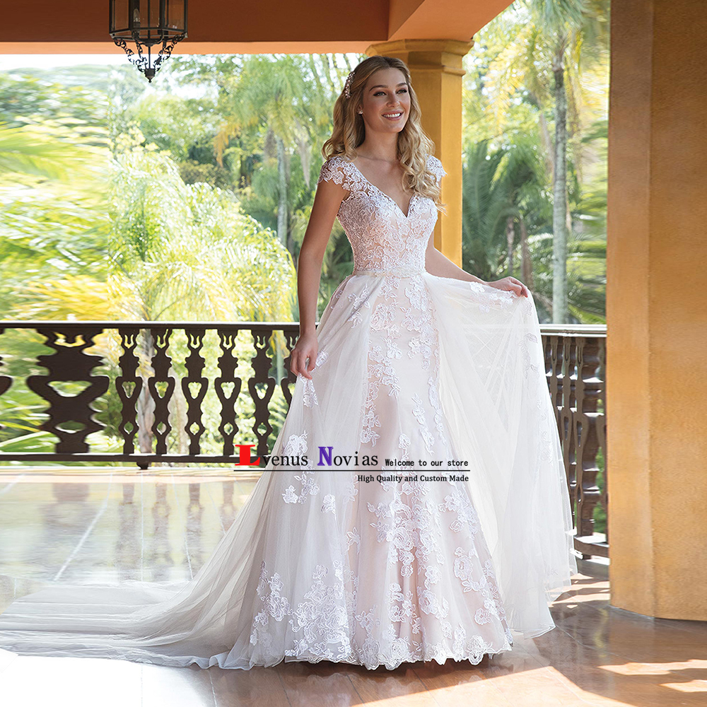 Cheap Bridal Gowns Detachable Train Luxury White Lace Wedding Dresses 2018 Vestido Novia Vintage Bride Dress