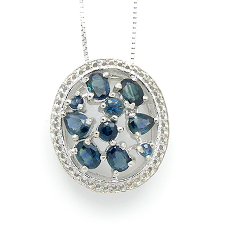 2017 New Collares Qi Xuan_Dark Blue Stone Big Pendant Necklace_Real Necklace_Quality Guaranteed_Manufacturer Directly Sale