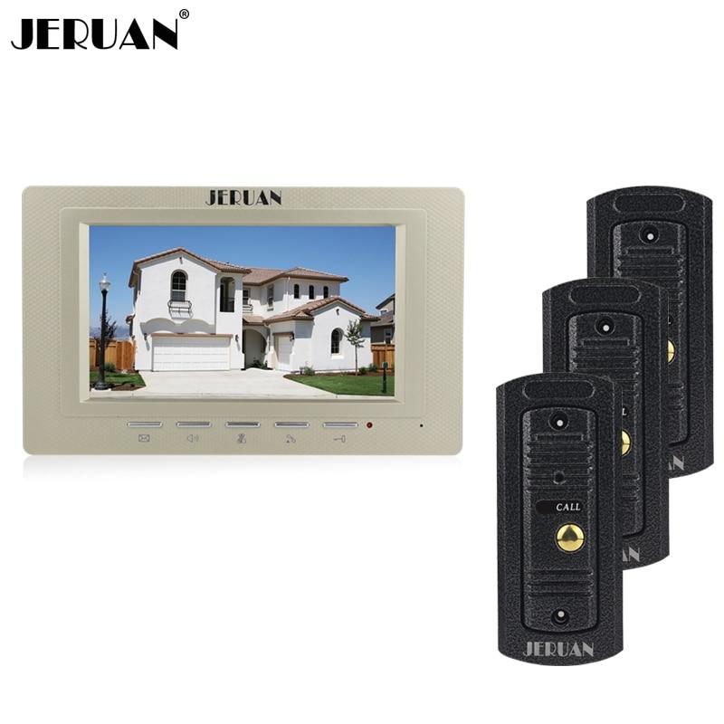 JERUAN Home 7 inch LCD screen video door phone intercom system 1 Gold monitor + waterproof metal pinhole Cameras In stock