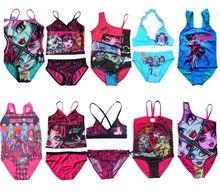2017 Monster.High Skull Swimsuit Bathing Swimming Suit Swimwear Swimsuit Beach Surf Clothing for Girls Age 3-14Y Hot Sale