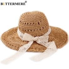 BUTTERMERE Sun Hats For Women Crochet Khaki Summer Straw Hat Girls Lace Up Elegant Bowknot Folding UV Beach Ladies Wide Brim Cap