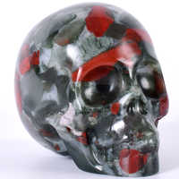 "Healing เลือดหินกะโหลกศีรษะมนุษย์ Reiki Figurine ประติมากรรมแกะสลัก Skull รูปปั้นตกแต่งบ้าน 3 ""Feng Shui"