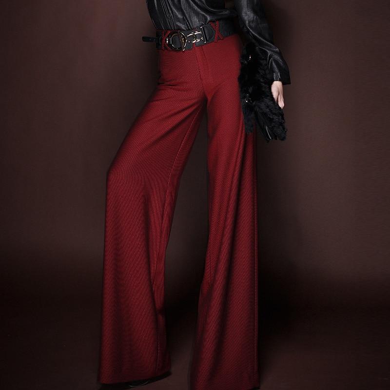 Tamaño Moda Red Mujer Slim Carrera Pantalones Ol 2015 Wine Cintura Patas Largos Pantalones Más Rectos Alta Rojo p7x1d1waq
