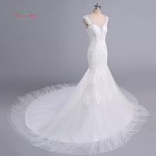 Fmogl V Neck Lace Mermaid Wedding Dress 2019 Chapel Train