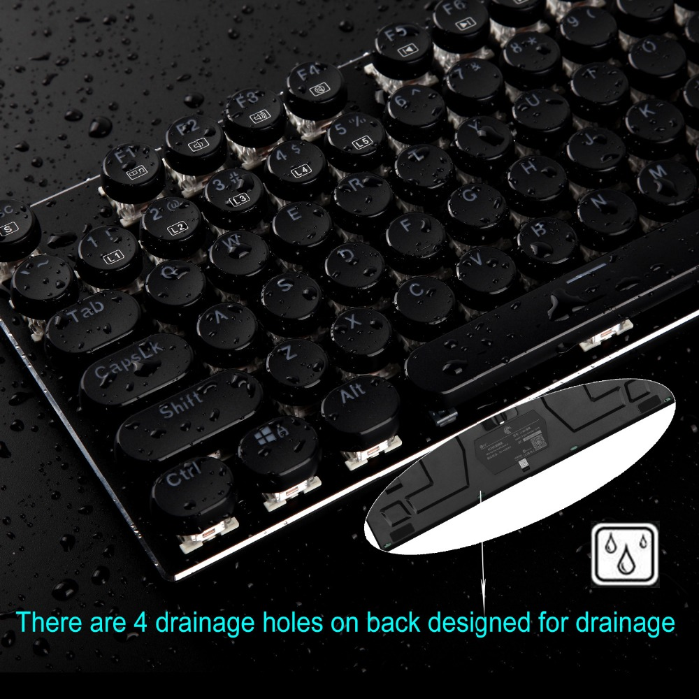 z-88 eagle retro typewriter style mechanical keyboard with multicolor led backlit
