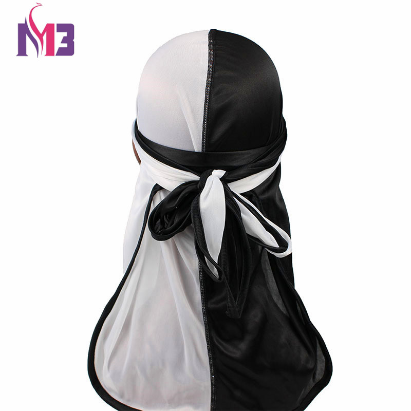 192444f7bbd New Fashion Men S Silk Patchwork Double Colors Soft Satin Durag ...