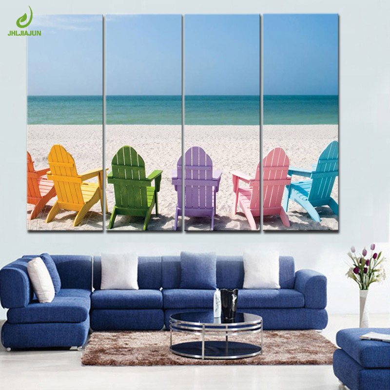 Smart Jhljiajun 4 Piece Sea Beach Chairs Painting Modual Canvas Decorationmodular Picture Art Decorative Bedroom Living Room Picture To Be Renowned Both At Home And Abroad For Exquisite Workmanship Painting & Calligraphy Skillful Knitting And Elegant Design Home Decor