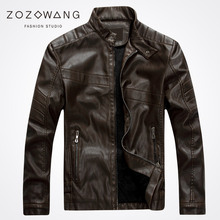 Zozownag 2017 autumn and winter influx of men's leather motorcycle leather PU leather jacket men plus velvet stand collar Slim демисезонные ботинки influx of men 1329 8cm