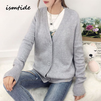 Women's Knitted Sweaters Autumn Winter Female Cashmere Sweaters V Neck Warm Wool Sweater Loose Women's Cardigans Large Size