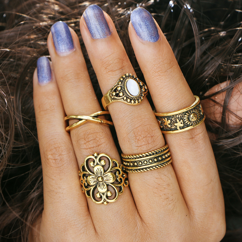 5 pcs/Set Antique Gold Silver Color Flower Ring Sets Women Jewelry Stone Hollow Cross Carved Star Midi Knuckle Mid Finger Rings