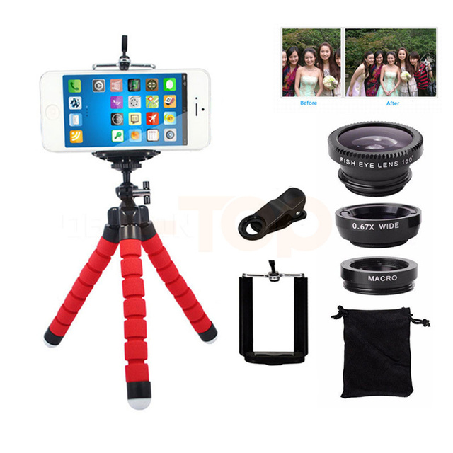 2017 Cell Phone Camera Lens Kit 3in1 Fisheye Wide Angle Macro Lenses Tripod For Samsung S5 S6 S7 S7 S8 edge Note 4 5 Smartphone
