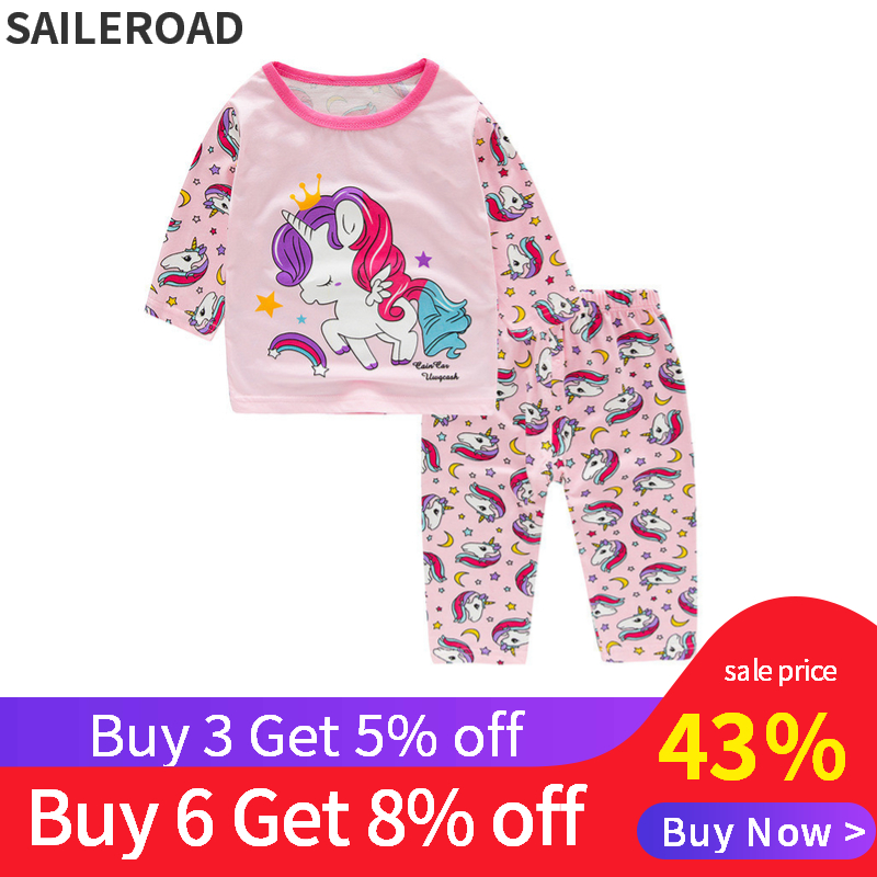 SAILEROAD Children's Unicorn Pajamas Set Kids Pajamas Baby Girl Spring Autumn Pyjamas Pijama Infantil Kids Sleepwear Clothes Set(China)