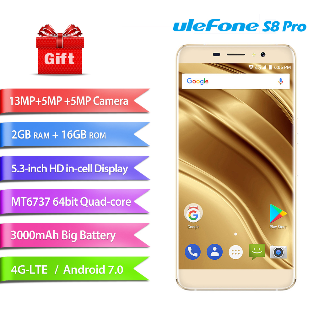 "Original Ulefone S8 Pro 4G Mobile Phones Android 7.0 2GB RAM 16GB ROM Quad Core Smartphone Dual Back Camera 720P 5.3"" Cell Phone"
