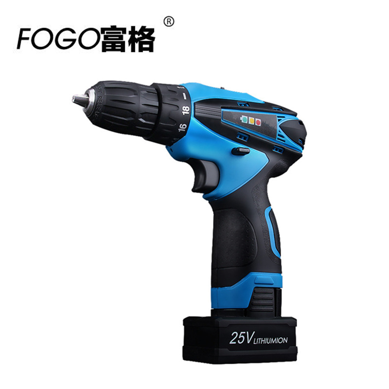 FOGO 25v Rechargeable Lithium Battery charging Cordless drill hand Torque Electric Drill bits Electric Screwdriver power