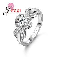 JEXXI Beautiful Wedding Jewelry Shiny White CZ Crystal Women Engagement Promise Silver Rings Best Valentine Love Gifts 925