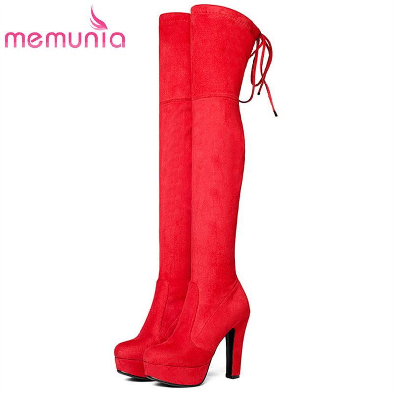 MEMUNIA Autumn winter boots for women flock solid platform shoes woman fashion over the knee boots stretch big size 34-43 memunia big size 34 43 over the knee boots for women fashion shoes woman party pu platform boots zip high heels boots female