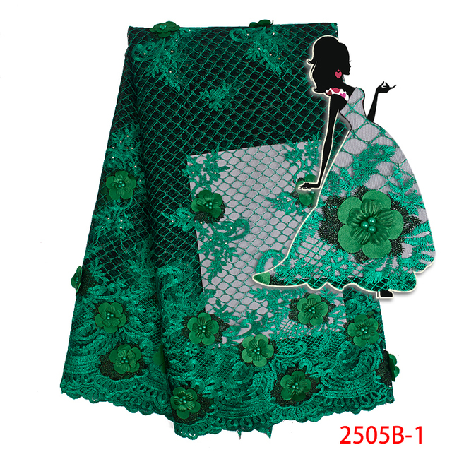 African Lace Fabric 2019 High Quality Lace 3d Flowers Green Color Mesh Tulle Lace Fabric Nigerian Beads Tulle Fabric AMY2505B-1