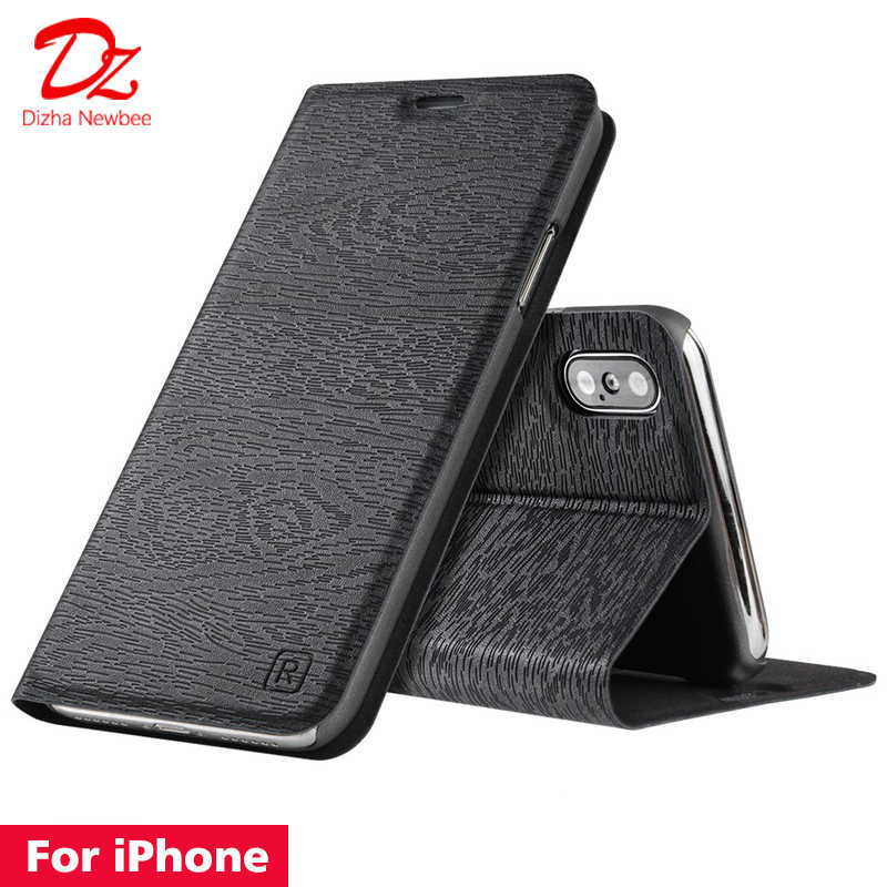 Untuk iPhone XR X XS MAX 10 6 6 S 7 7 Plus Leather Case untuk Apple Iphone 5 5S SE PU flip Cover Kartu Slot Berdiri