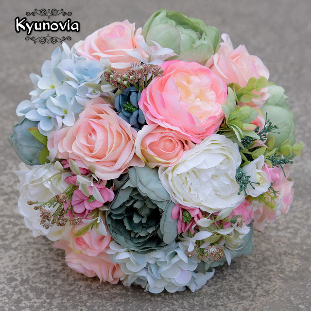 Kyunovia Faux Bouquet Silk Roses Wedding Flowers Country Bouquet ...