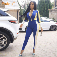 2019 winter new women's long bandage jumpsuit long sleeved stitching sexy Bodycon jumpsuit sports party club jumpsuit