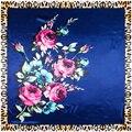 90 см * 90 см Европейский Розы Leopard Печатных Фирменный стиль женщины шелкового атласа большой площади шарф