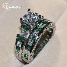 Bamos Luxury Princess Cut Zircon Ring Set White Gold Filled