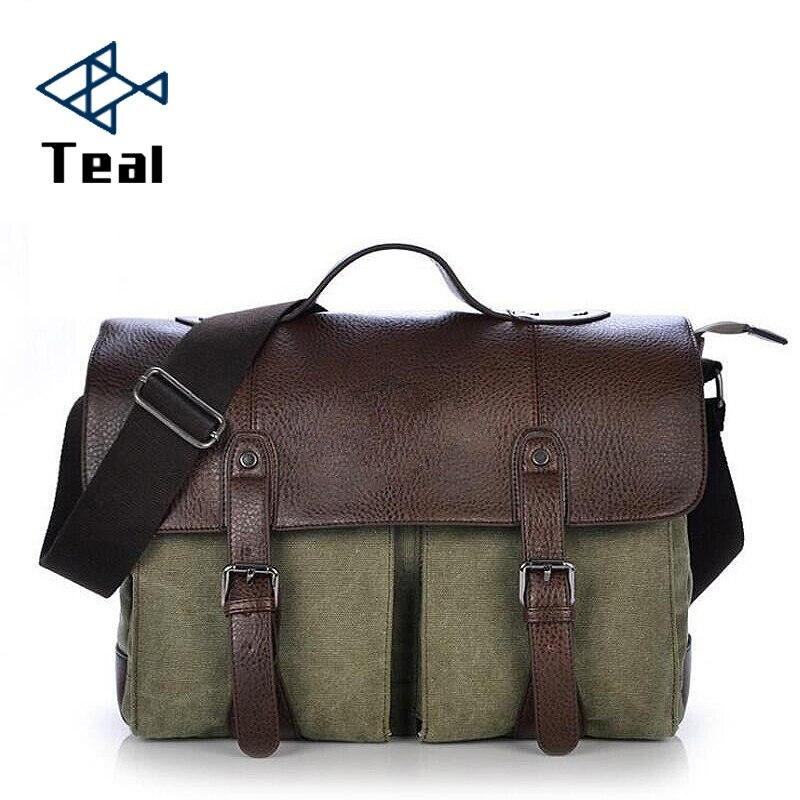 467cb14424be 2019 new Canvas Leather Men s Briefcase Casual Vintage Men s Crossbody Bag  Bussiness Shoulder Messenger Bag For