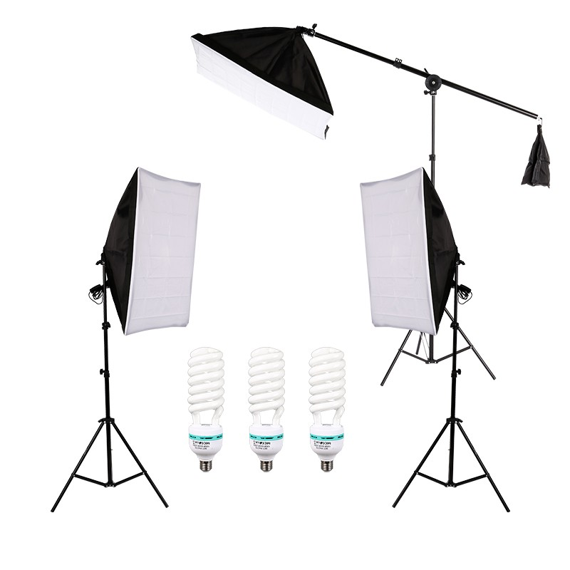 Photography Photo Lighting Kit with 5500K 135W Daylight Studio Bulb Light Stand Square Cube Softbox Cantilever