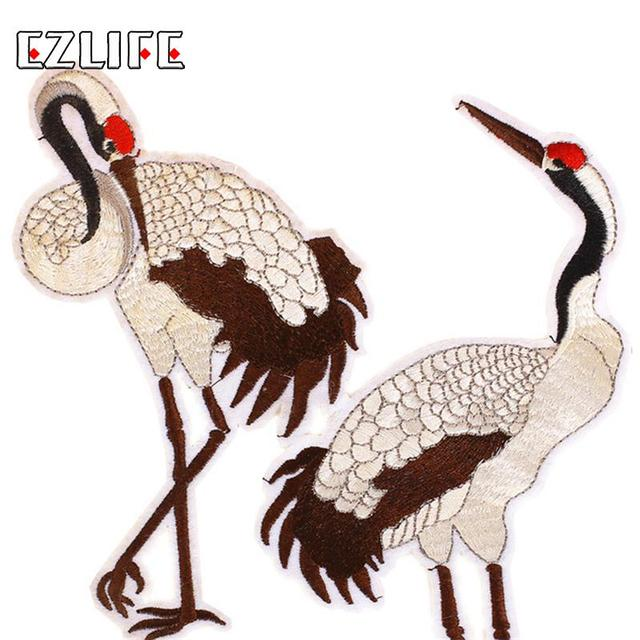 1pcs Red-crowned Crane Bird Patch Embroidery Iron On Patches For Clothes  Fabric Patch Clothes DIY Decoration Patches LQW1812 ee6ccaeccc90