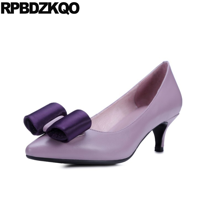 2017 Size 4 34 High Heels Pointed Toe Pumps Kitten Black Work Shoes Women Leather Bow China Fashion Medium Purple Genuine Autumn парктроник parkmaster 4 dj 34 34 4 a black