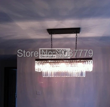 L800mm*300*330mm size Vintage Odeon clear glass K9 Rectangular chandelier