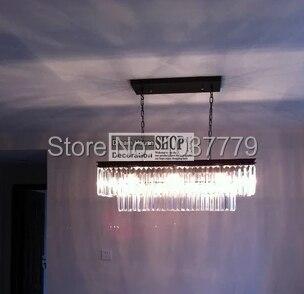 L800mm*300*330mm size Vintage crystal chandelier clear glass K9 Rectangular chandelier