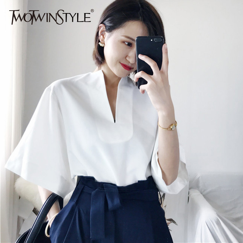 TWOTWINSTYLE Basic   Shirt   Tops Female V Neck Batwing Sleeve Big Size Short   Blouse   For Women Summer Fashion Casual 2019 Clothing