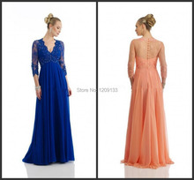 Abendkleider 2015 sexy v-ausschnitt elegante appliques wulstige dreiviertel chiffon-langes kleid vestidos de festa vestido longo