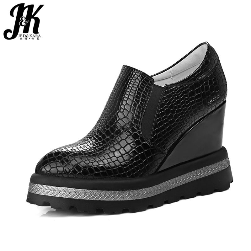 JK Big Size 34-42 Spring 2018 New Women Shoes Fashion Pointed toe Casual Sneaker Embossed Slip on Easy Wedges Platform Shoes