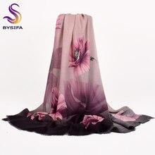 [BYSIFA] Ladies Purple Scarves Foulard New Floral Design 100% Wool Cashmere Scarves Fall Winter Women Wool Scarf Shawl 190*75cm