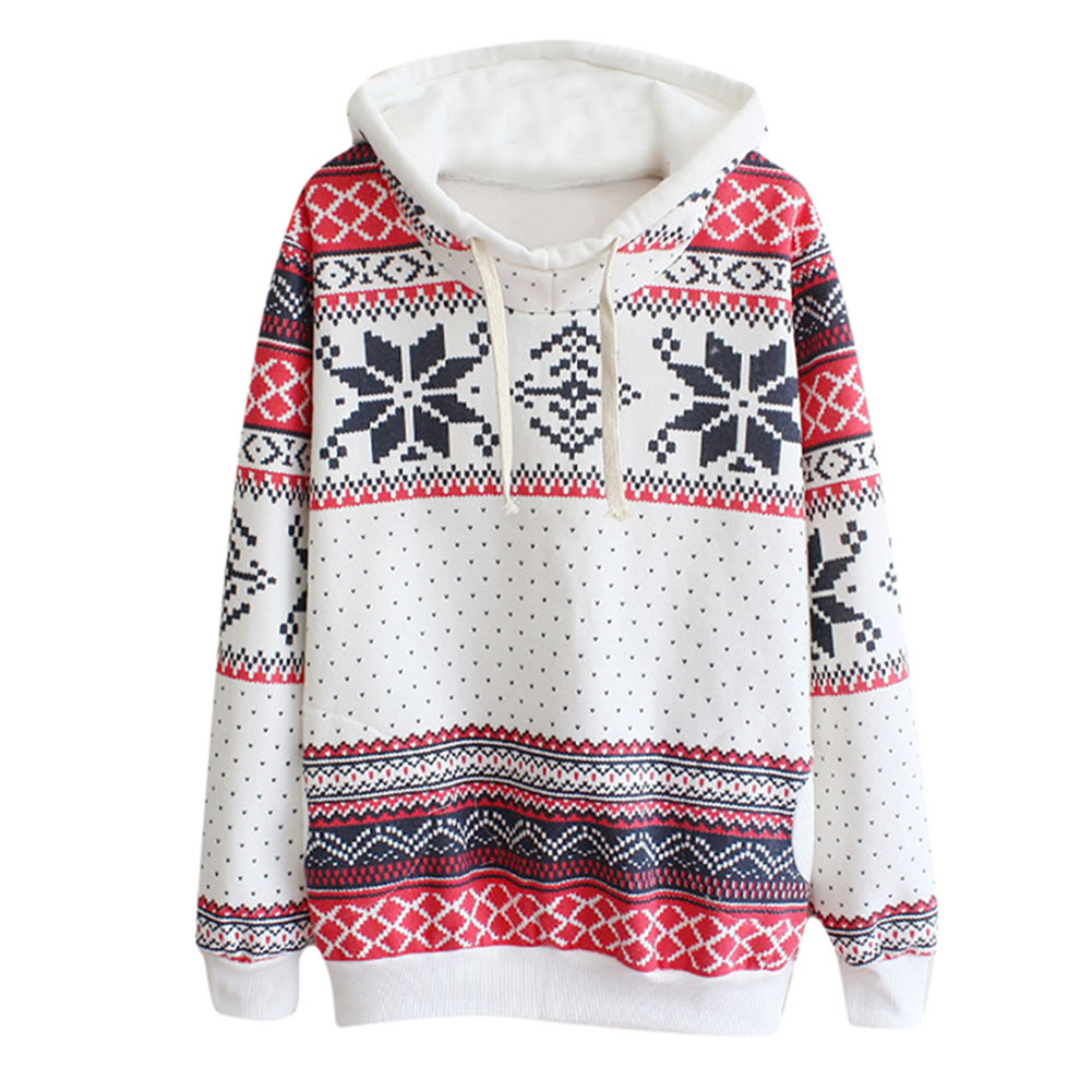 2017 New Fashion Women Pullover Snowflake Print Long Sleeve Knitted Sweater Female Christmas Sweater Casual Pullover