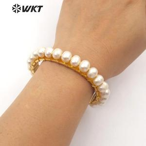 Image 5 - WT B474 WKT New Arrivals Natural Pearl Handmade Bracelet With Metal Dipped Women Fashion Bracelet Jewelry