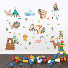 Funny Animals Indian Tribe Wall Stickers For Kids Rooms Home Decor Cartoon Owl Lion Bear Fox Decals PVC DIY Mural Art
