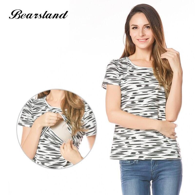 Maternity Nursing top Fashion Breastfeeding T shirt Summer Tee for Pregnant Women 3 color